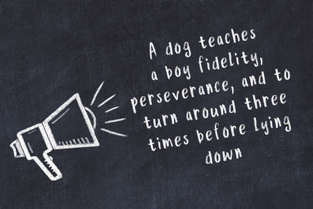 Drawing of loudspeaker on black chalkboard with wise movitational inscription