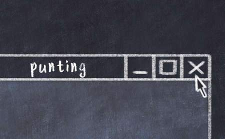 Closing browser window with caption punting. Chalk drawing. Concept of dealing with trouble
