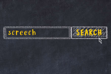 Concept of looking for screech. Chalk drawing of search engine and inscription on wooden chalkboard