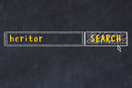 Drawing of search engine on black chalkboard. Concept of looking for heritor