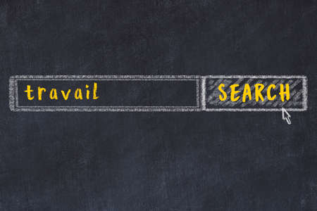 Drawing of search engine on black chalkboard. Concept of looking for travail