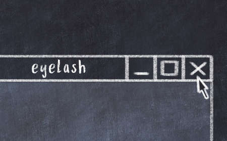 Chalk sketch of closing browser window with page header inscription eyelash