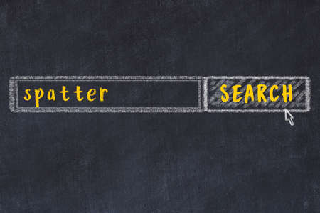 Drawing of search engine on black chalkboard. Concept of looking for spatter