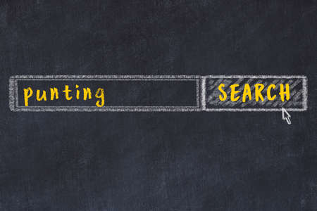 Concept of looking for punting. Chalk drawing of search engine and inscription on wooden chalkboard