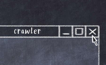 Chalk sketch of closing browser window with page header inscription crawler Standard-Bild
