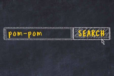 Concept of looking for pom-pom. Chalk drawing of search engine and inscription on wooden chalkboard