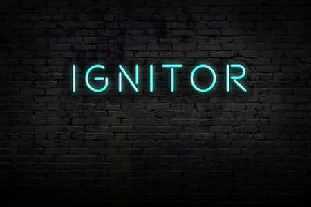 Neon sign on brick wall at night. Inscription ignitor