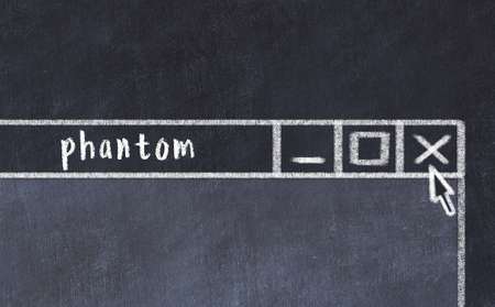Chalk sketch of closing browser window with page header inscription phantom