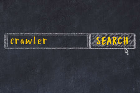 Concept of looking for crawler. Chalk drawing of search engine and inscription on wooden chalkboard
