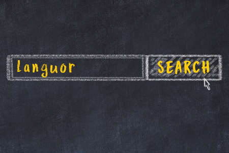Concept of looking for languor. Chalk drawing of search engine and inscription on wooden chalkboard 스톡 콘텐츠