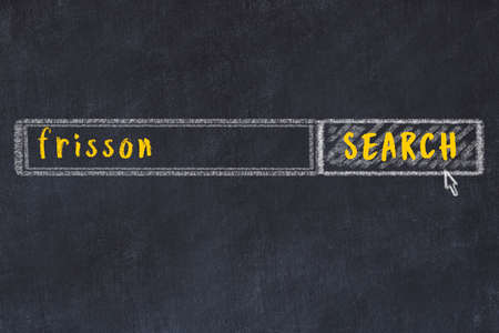 Drawing of search engine on black chalkboard. Concept of looking for frisson Banco de Imagens