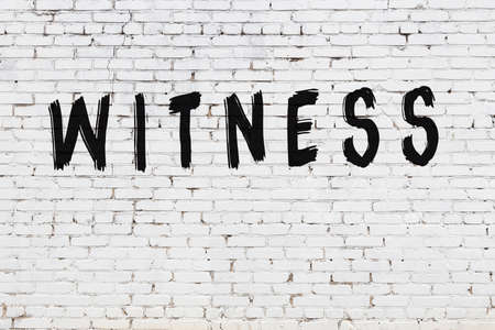 Inscription witness written with black paint on white brick wall. Reklamní fotografie