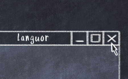 Chalk sketch of closing browser window with page header inscription languor
