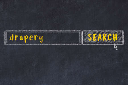 Drawing of search engine on black chalkboard. Concept of looking for drapery