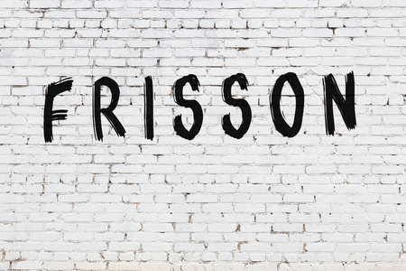 Inscription frisson written with black paint on white brick wall.