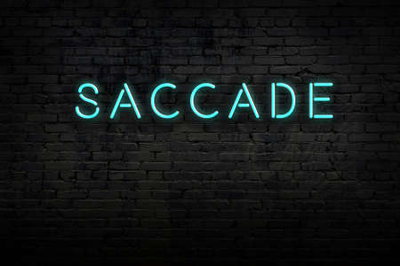 Neon sign on brick wall at night. Inscription saccade
