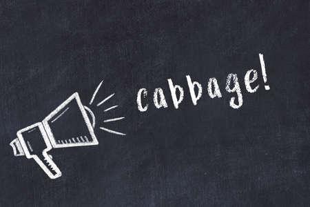 Chalk drawing of loudspeaker and handwritten inscription cabbage on black desk