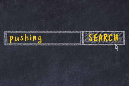Drawing of search engine on black chalkboard. Concept of looking for pushing Banco de Imagens