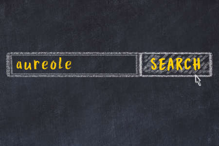 Concept of looking for aureole. Chalk drawing of search engine and inscription on wooden chalkboard