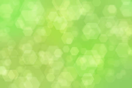 green abstract defocused background with hexagon shape bokeh spots Stockfoto