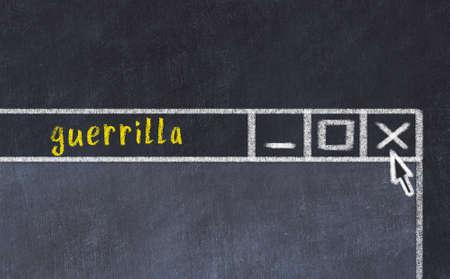 Chalk sketch of closing browser window with page header inscription guerrilla Standard-Bild