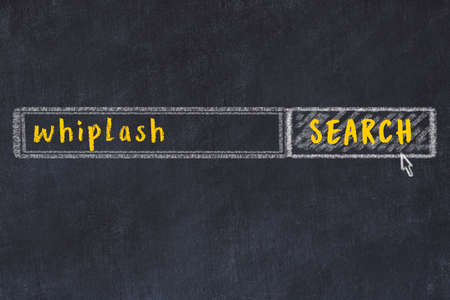 Drawing of search engine on black chalkboard. Concept of looking for whiplash