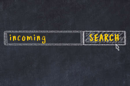 Drawing of search engine on black chalkboard. Concept of looking for incoming