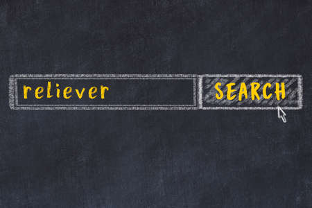 Drawing of search engine on black chalkboard. Concept of looking for reliever Standard-Bild