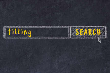 Drawing of search engine on black chalkboard. Concept of looking for filling