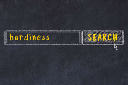 Concept of looking for hardiness. Chalk drawing of search engine and inscription on wooden chalkboard