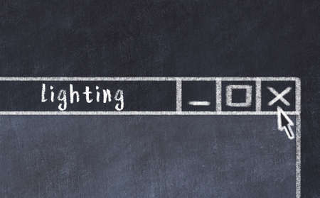 Chalk sketch of closing browser window with page header inscription lighting