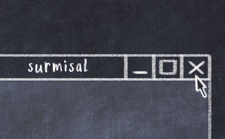 Chalk sketch of closing browser window with page header inscription surmisal