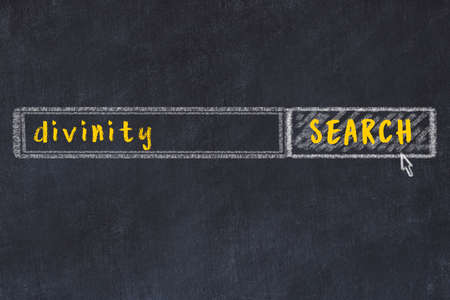 Drawing of search engine on black chalkboard. Concept of looking for divinity