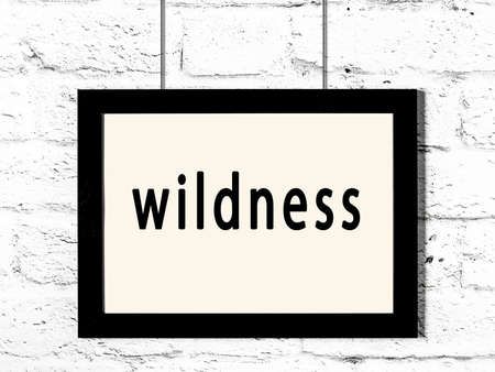 Black wooden frame with inscription wildness hanging on white brick wall