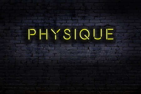 Neon sign with inscription physique against brick wall. Night view