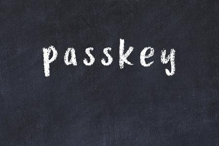 College chalkboard with with handwritten inscription passkey on it Standard-Bild