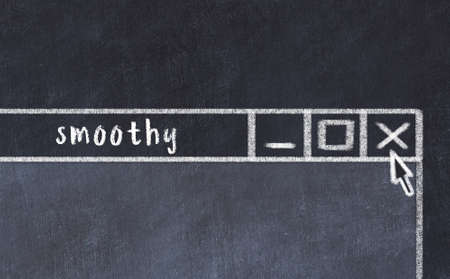 Chalk sketch of closing browser window with page header inscription smoothy