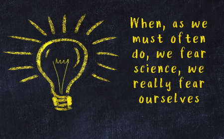 Wise quotation and a chalk drawing of a bulb on black chalkboard Imagens
