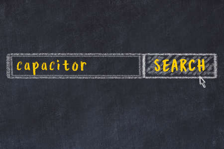 Drawing of search engine on black chalkboard. Concept of looking for capacitor