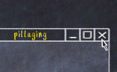 Closing browser window with caption pillaging. Chalk drawing. Concept of dealing with trouble