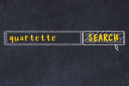 Drawing of search engine on black chalkboard. Concept of looking for quartette