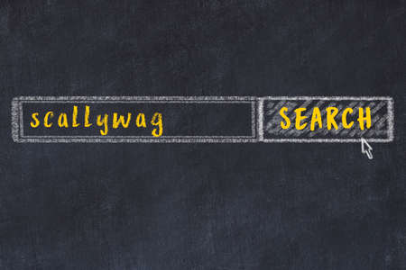 Concept of looking for scallywag. Chalk drawing of search engine and inscription on wooden chalkboard Reklamní fotografie