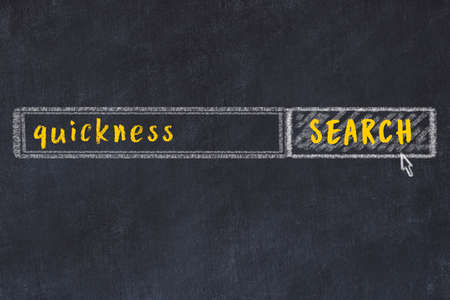 Drawing of search engine on black chalkboard. Concept of looking for quickness