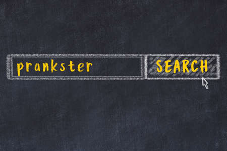 Concept of looking for prankster. Chalk drawing of search engine and inscription on wooden chalkboard