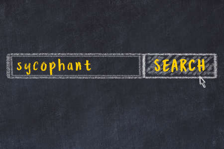 Drawing of search engine on black chalkboard. Concept of looking for sycophant