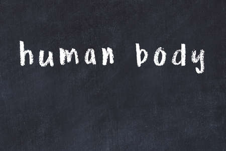 Chalk handwritten inscription human body on black desk