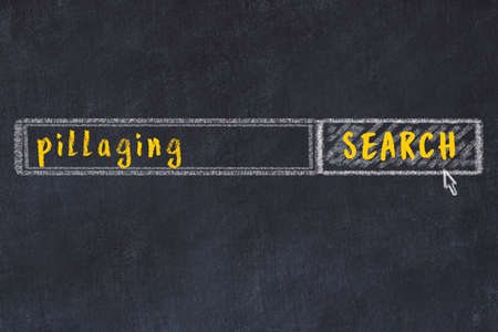 Drawing of search engine on black chalkboard. Concept of looking for pillaging
