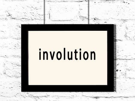 Black wooden frame with inscription involution hanging on white brick wall