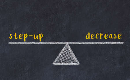 Balance between step-up and decrease. Chalkboard drawing on black chalkboard