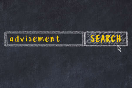 Concept of looking for advisement. Chalk drawing of search engine and inscription on wooden chalkboard